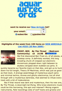 Aquarius Records website features a long list of new releases and reviews.
