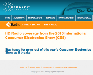 iBiquity's CES News Page