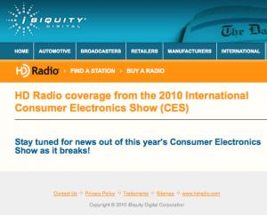 iBiquity's CES News Page
