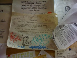 KZSU's Zero Tolerance Policy Regarding Graffiti (Photo: J. Waits)