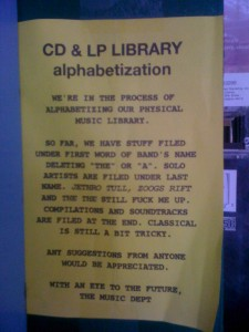 CD and LP Library Alphabetization sign (Photo: J. Waits)