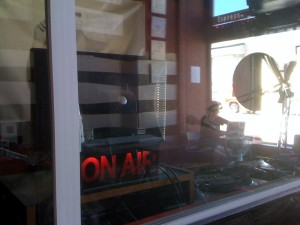 ON AIR sign at the old Pirate Cat Radio (Photo: J. Waits)
