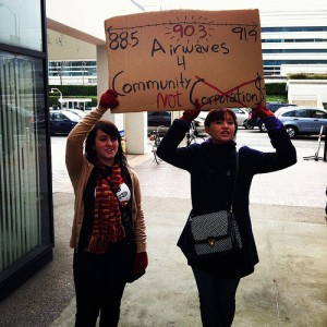 KUSF Supporters at January 18, 2012 Protest at Entercom (Photo: Steve Rhodes)