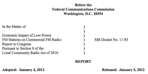 FCC Report and Order on the Economic Impact of LPFM