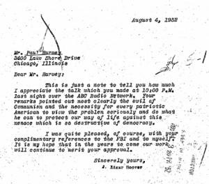 Letter from J. Edgar Hoover to Paul Harvey