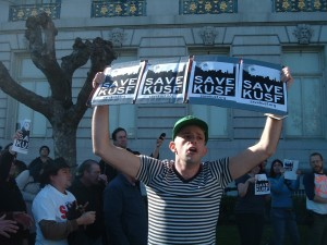 Save KUSF Protest at San Francisco City Hall. January 2011 (Photo: J. Waits)