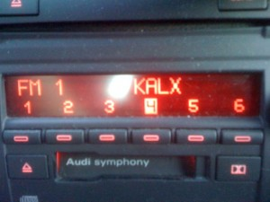 My husband's car radio. Where KALX is #4.