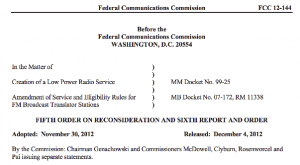 FCC's LPFM order will make 2013 a good year for community radio