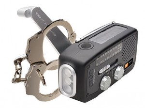 wind-up radio in handcuffs