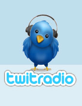 Twit radio: a Twitter logo bird with headphones.
