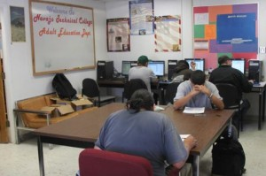 Navajo Technical College students booking  down for exams.