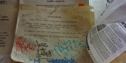 Anti-graffiti sign at college radio station KZSU. Photo: J Waits