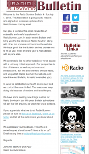 Radio Survivor Bulletin #1
