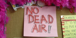 No Dead Air sign at college radio station KJUC at UC Santa Barbara (photo: J. Waits)