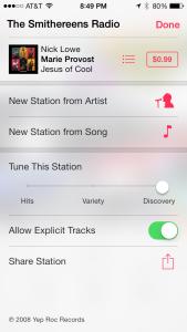 iTunes Radio Info Screen