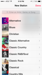 iTunes Radio Genre List