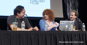 Comedy podcasters at WFMU's RadioVision 2013 (L to R: Tom Scharpling, Julie Klausner and Jake Fogelnest)