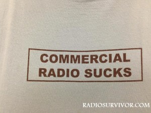 "Front of KZSC T-shirt reads ""Commercial Radio Sucks"""
