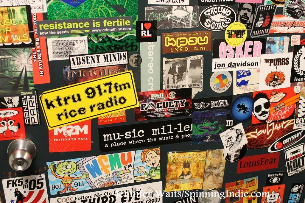 radio stickers at college radio station KPSU