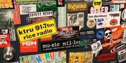 radio stickers, including KTRU, at KPSU