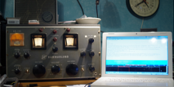 A Hammarlund HQ-150 receiver plugged into a PC for Radiogram reception.