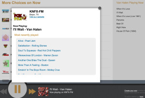 RadioSearchEngine now displays a station's most recently played songs.