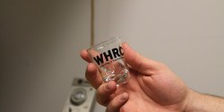 shot glass at college radio station WHRC