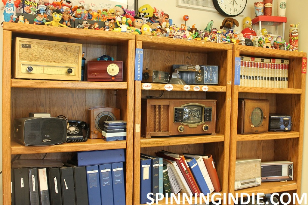 vintage radios and toys in high school radio station WLTL's classroom