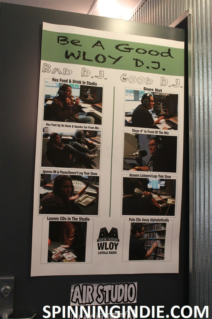 DJ rules sign at college radio station WLOY