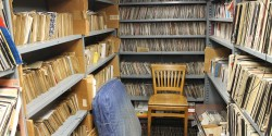 record library at college radio station WMUC