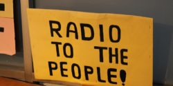 Radio to the People sign at LPFM hopeful San Francisco Community Radio. Photo: J. Waits
