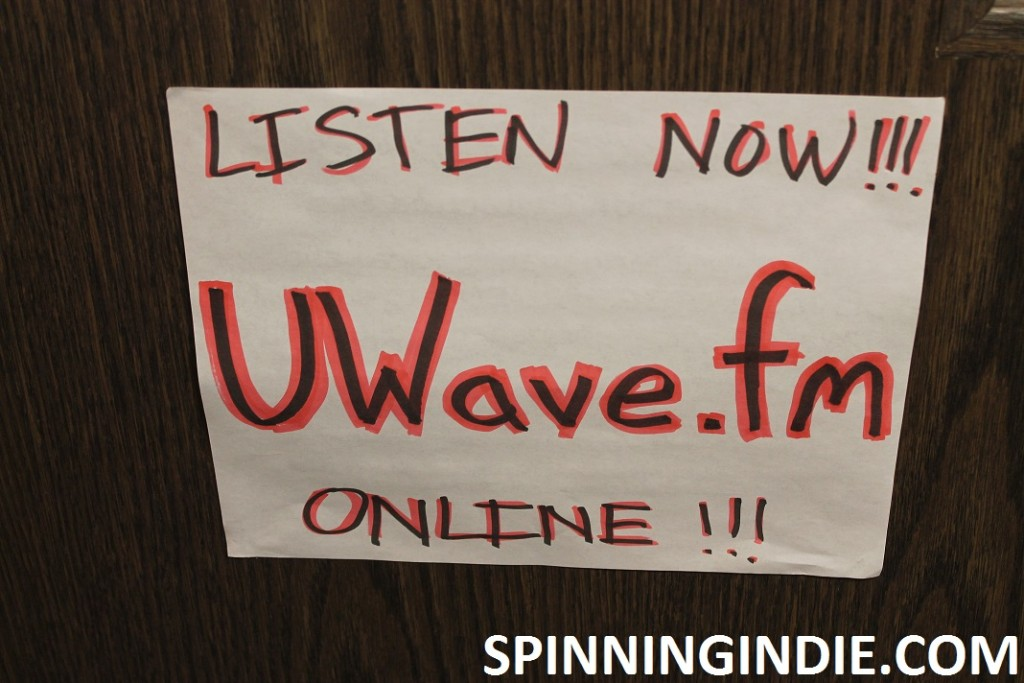 sign for college radio station UWave Radio
