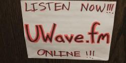 sign for college radio station UWave Radio