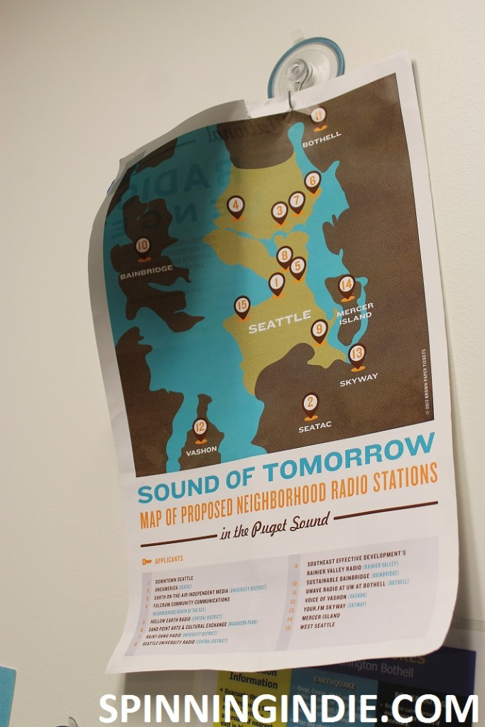 poster showing potential LPFM stations in Puget Sound area