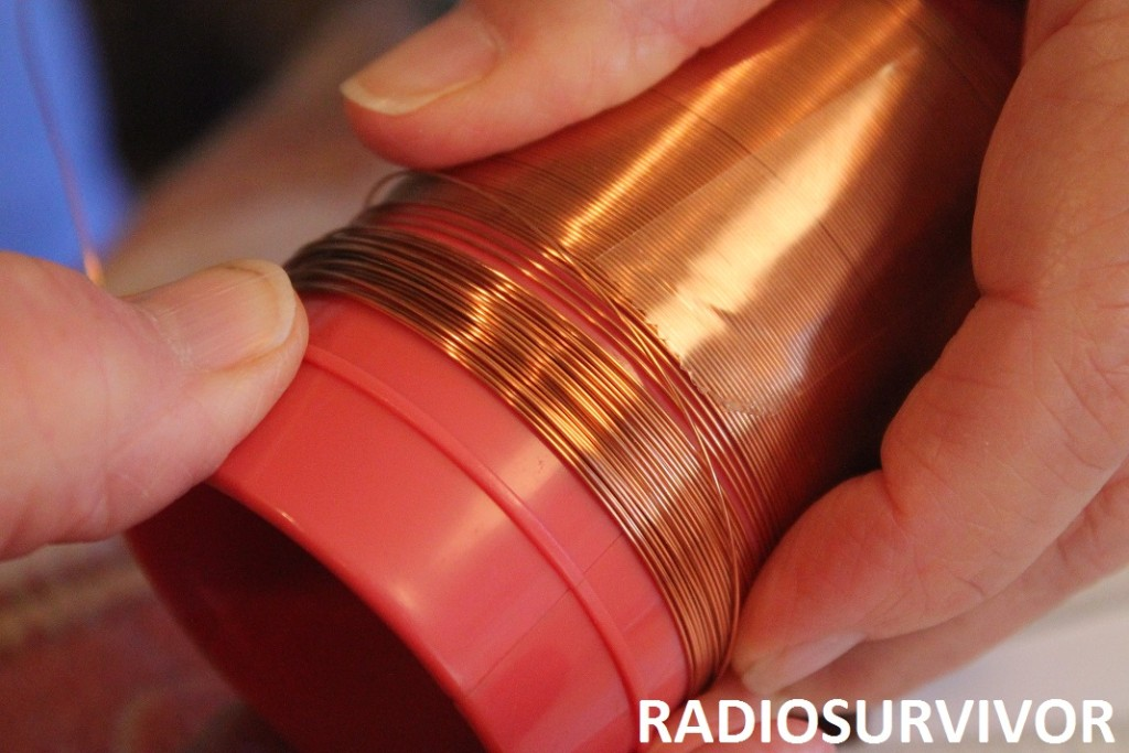 copper wire unspooling from coil