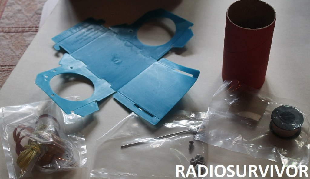 Slinky Crystal Radio Kit parts