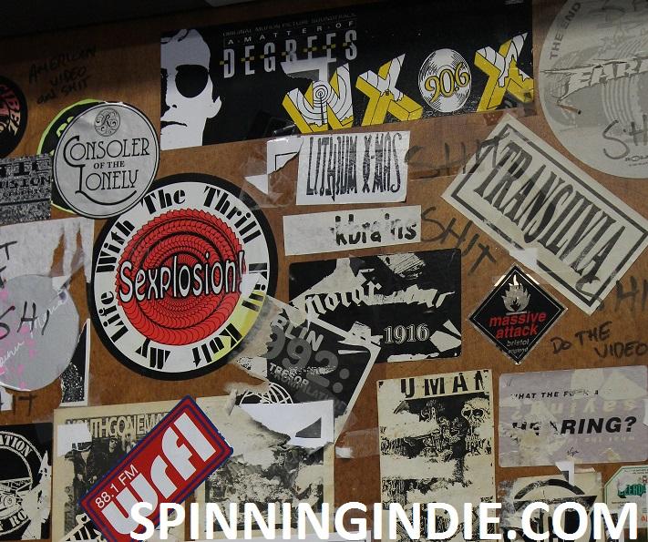 WXOX sticker at college radio station WRFL