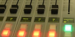 college radio mixing board