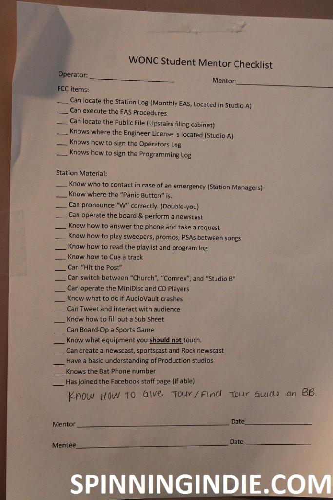 WONC student mentor checklist