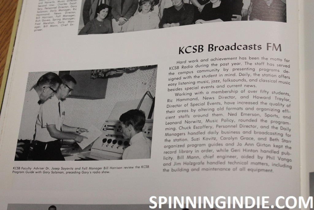 KCSB entry in 1964 yearbook