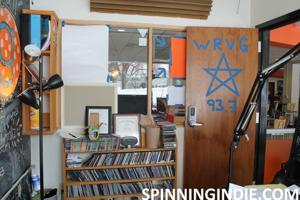 WRVG studio with CDs