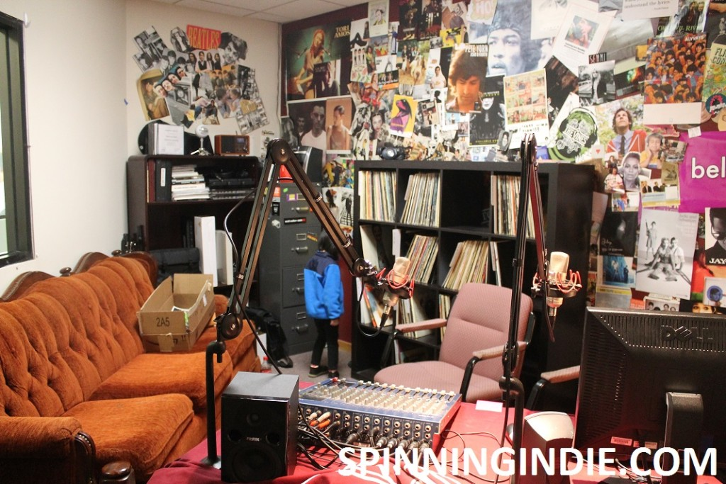 Bellarmine Radio studio, including a couch