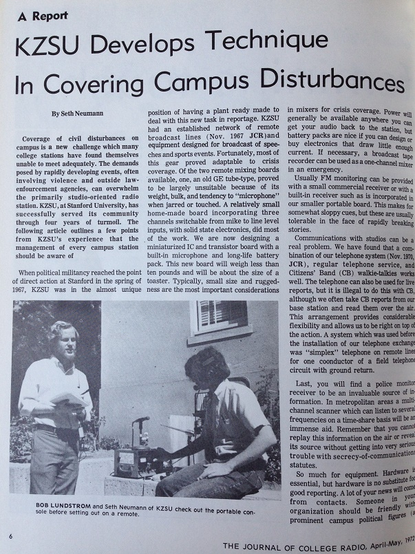 KZSU and Covering Campus Disturbances article