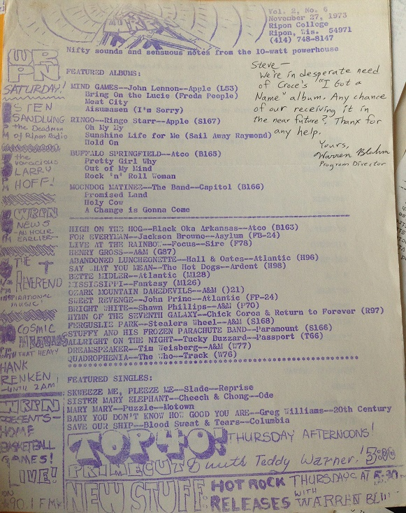 college radio station WRPN playlist 1973