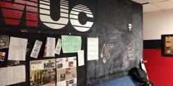 lobby at college radio station WMUC
