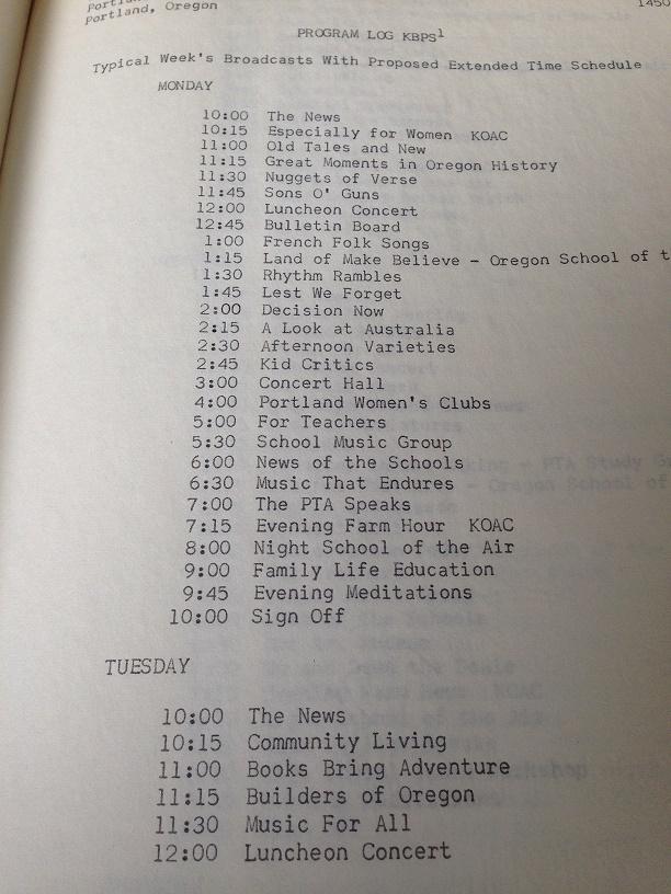 high school radio station KBPS' Program Logs