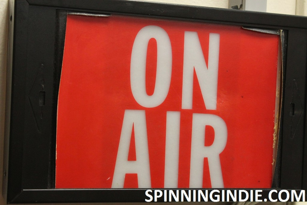 On Air sign at college radio station WHBC