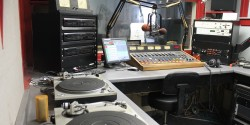 studio at commercial college radio station WHRB