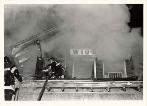 college radio station WIUS on fire October 10, 1972