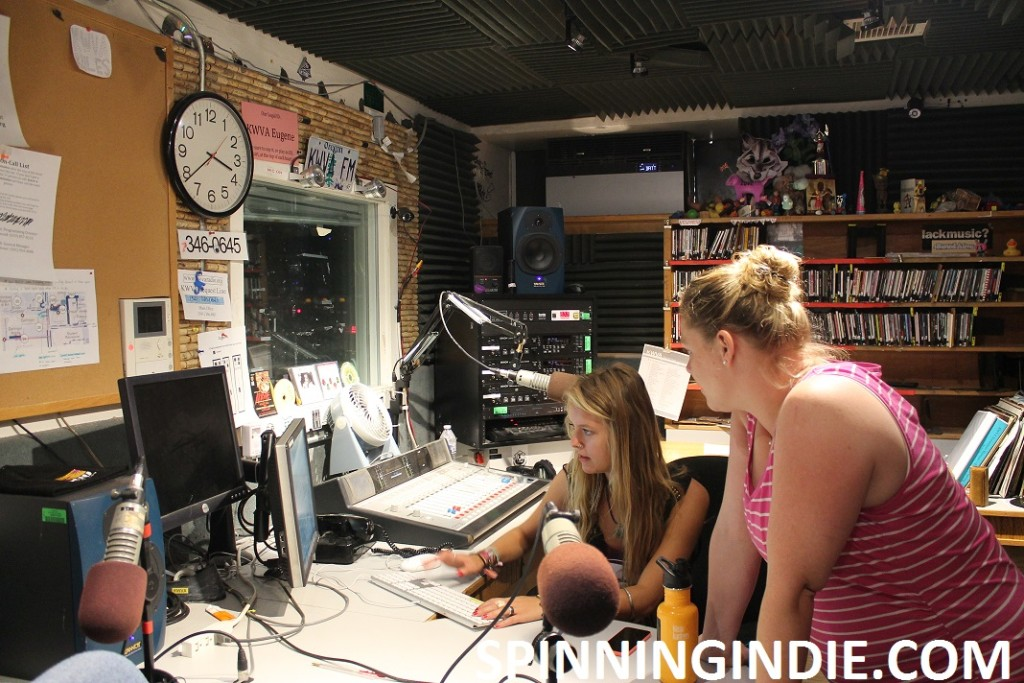 Charlotte Nisser and KWVA DJ in studio